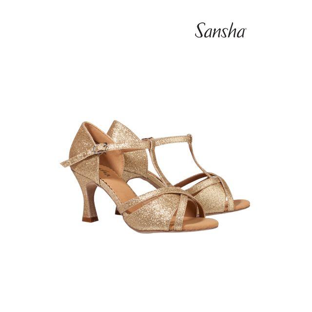 Sansha Shimmery latin suede sole TINA BR30008GL